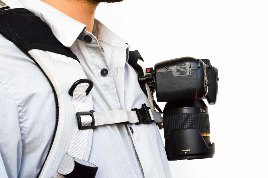 Peak Design's Capture Camera Clip System attaches to any strap that is up to 3 inches wide and .5 inches thick.